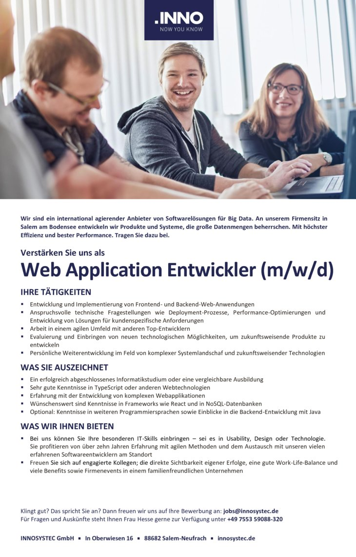 Web Application Entwickler (m/w/d)